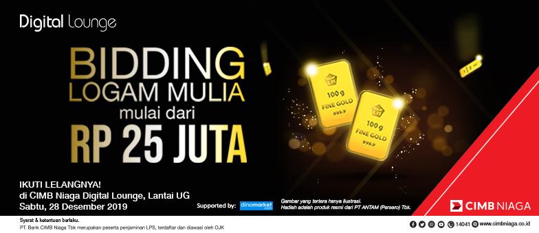 Bidding Logam Mulia mulai dari Rp 25 JUTA, di CIMB Niaga Digital Lounge EPM!